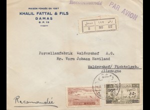 Syria 1951: Registered Damas to Waldershof, Porzellanfabrik