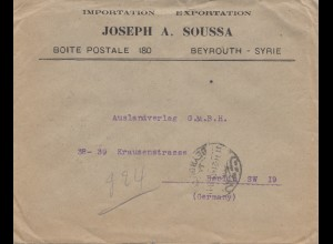 Syria 1921 letter Beyrouth to Berlin