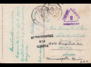 Thailand 1940: post card Bangkok to Mineapolils, censor