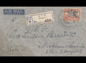 Thailand 1937: air mail registered Bangkok to Catanzaro/Milano/Italy