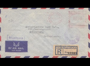 Thailand 1954: Nationale Handelsbank, registered, Bangkok to Amsterdam