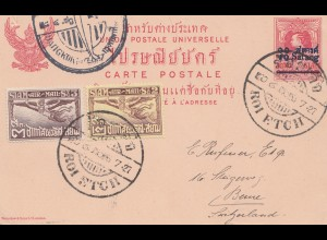Thailand 1927: post card Roi Etch, Bangkok to Bern/Switzerland