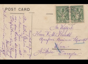 Thailand 1915: post card Monument Wat Poh, Bangkok to Wien