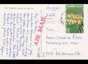 Thailand 1975: post card Thai Elephant via air mail to Heidenau/DDR