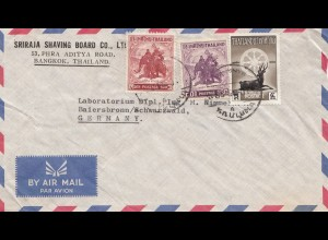 Thailand 1958: air mail Bangkok to Laboratorium Baiersbronn, deere, elephant