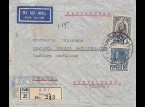 Thailand 1936: air mail registered Bangkok to Monfalcone/Trieste