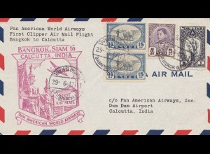 Thailand 1947: first clipper air mail flight Bangkok to Calcutta/India