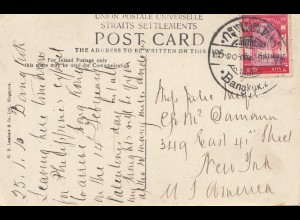 Thailand 1910: post card Istana of Johore/Bangkok to New York