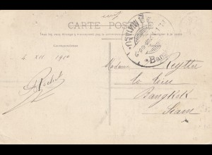 France 1911: post card Becancon to Bangkok