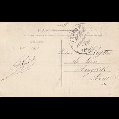 France 1911: post card Becancon to Bangkok
