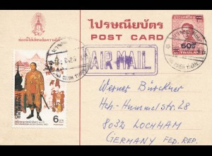 Thailand 1982: post card air mail to Lochham