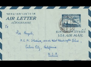 Thailand 1958: air letter aerogramme to California