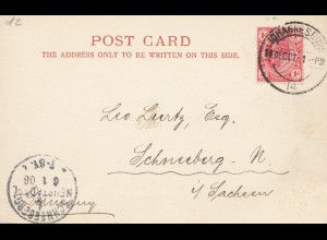 South Africa 1907: post card Johannesburg to Schneeberg