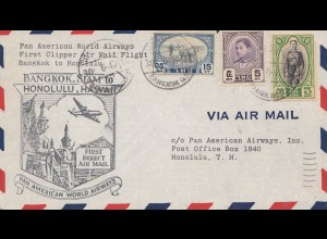 Thailand 1947: first clipper air mail flight Bangkok to Honolulu