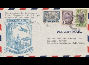 Thailand 1947: first clipper air mail flight Bangkok to San Francisco
