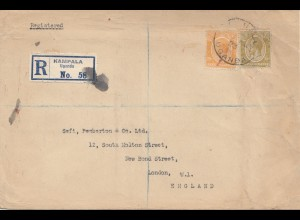 Uganda 1923: registered Kampala to London