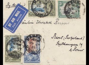 Uganda 1935: air mail Kampala Imperial Hotel to Basel/Switzerland