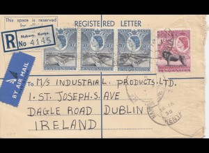 Kenya 1958: air mail registered Nakuru/Kenya to Dublin/Ireland