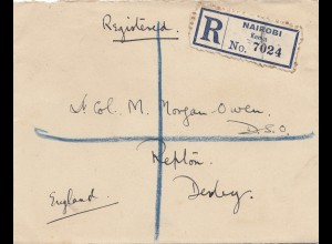 Kenya 1927: registered Nairobi to England/Derby