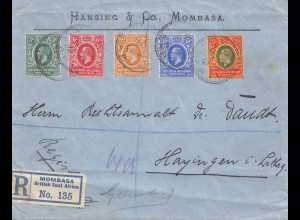 Kenya 1912: registered Mombasa to Hayingen/Lothringen