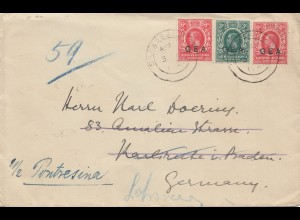 Uganda 1922: Daressalam to Karlsruhe/Germany forwarded Pontresina/Switzerland