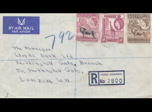 Uganda 1959: air mail registered Culu to London