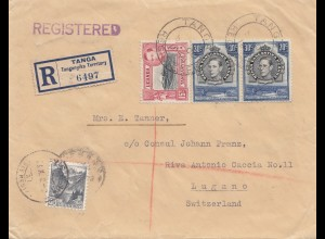 Kenya 1938: registered Tanga to Lugano/Switzerland