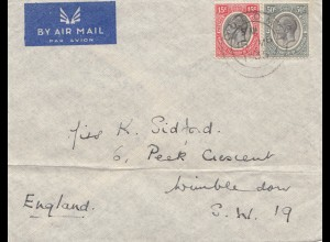 Tanzania: air mail 1935 to Wimbledon
