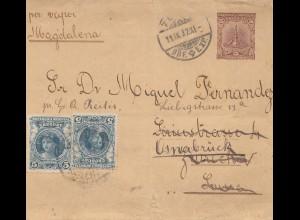 Uruguay 1902: letter via Magdalena to Osnabrück