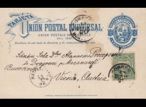 Uruguay 1892: post card to Wien