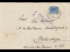 Uruguay 1938: letter to Porto Alegre, censura Rio Grande