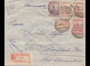 Uruguay 1923: registered letter Montevideo to Schönebeck/Elbe