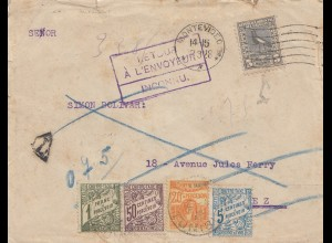 Uruguay 1928: letter Montevideo - Turez - retour