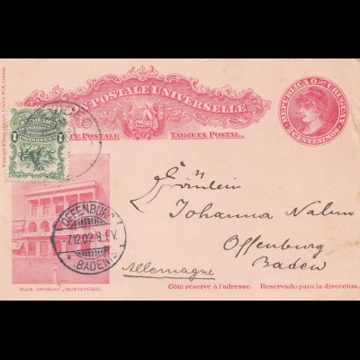 Uruguay 1902: post card Montevideo to Offenburg