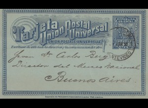 Uruguay 1898: post card Montevideo to Buenos Aires