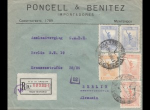 Uruguay 1921: registered Montevideo to Berlin