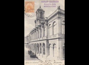 Uruguay 1910: post card Montevideo Bolsa de Comercio to Budweis/Budejovice