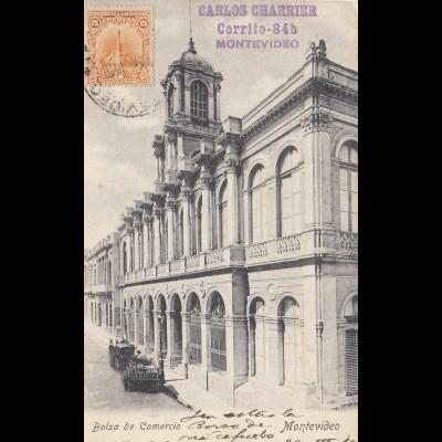 Uruguay 1910: post card Montevideo Bolsa de Comercio to Budweis/Budejovice
