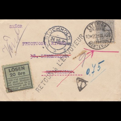 Uruguay 1928: small letter Montevideo to Stockholm, Tax 20 öre