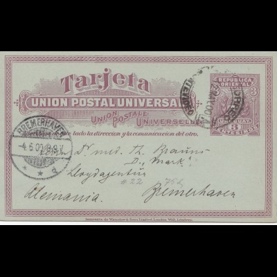 Uruguay 1900: post card Montevideo to Bremerhaven
