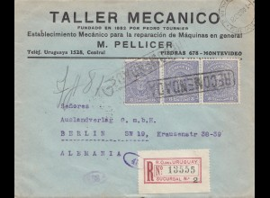 Uruguay 1921: registered Montevideo to Berlin/Germany