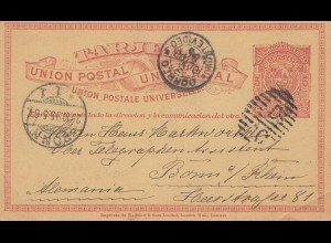 Uruguay 1895: post card Montevideo to Bonn