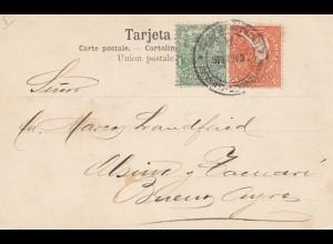 Uruguay 1906: post card MontevideoDiligencia Vadeando un Arroyo to Buenos Aires
