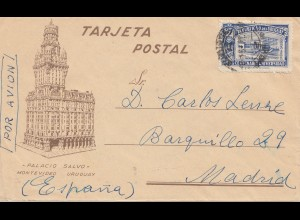 Uruguay 1910: Montevideo via air mail to Madrid/Spain