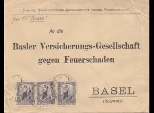 Uruguay 1902: Montevideo Basler Versicherung per SS Percei to Basel