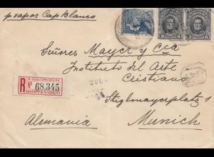 Uruguay 1911: registered Montevideo to München