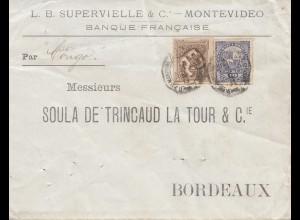 Uruguay 1889 Mondevideo Banque Francaise to Bordeaux