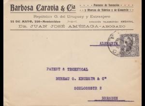 Uruguay 1907 Mondevideo to Dresden