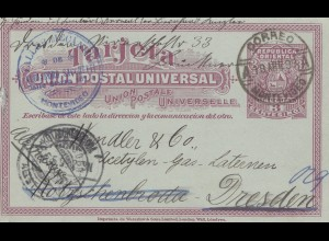 Uruguay 1899: post card Montevideo to Dresden