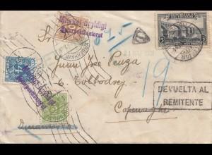 Uruguay 1931: Montevideo to Copenhagen/DK - Inconnu, Devuelta al Remitente